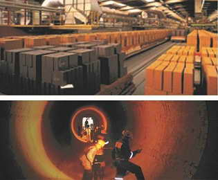 آجرهای نسوز رفرا تکنیک در خط تولید و در حال استفاده در کارخانه ها
